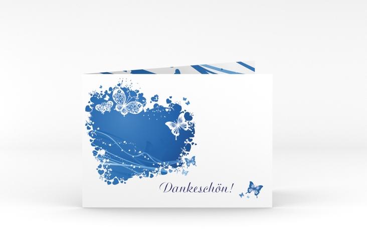 """Danksagungskarte Hochzeit """"Mailand"""" A6 Klappkarte Quer blau"""