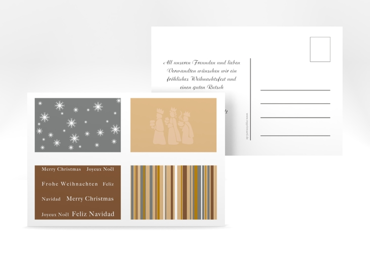 """Weihnachtskarte """"Morgenland"""" A6 Postkarte braun"""