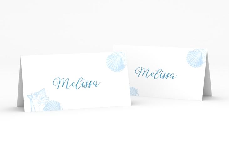"""Tischkarte Hochzeit """"Muschelreich"""" Tischkarten blau"""