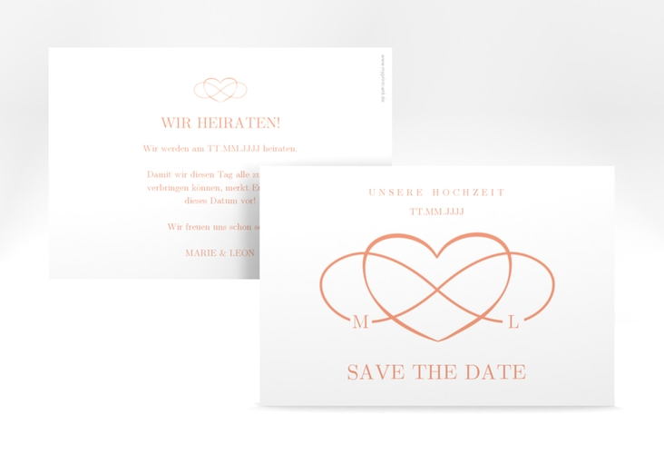 "Save the Date-Karte ""Infinity"" A6 quer apricot"