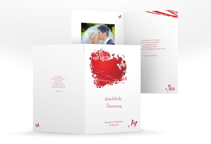 """Kirchenheft Hochzeit """"Mailand"""" DIN A5 geklappt rot"""