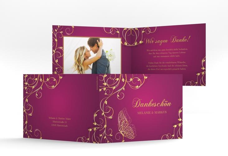 "Danksagungskarte Hochzeit ""Eternity"" A6 Klappkarte Quer pink"