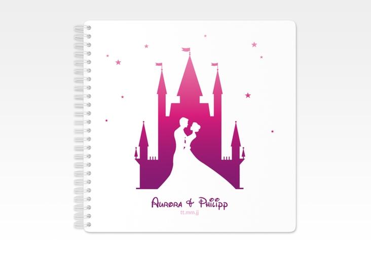 "Gästebuch Hochzeit ""Castle"" Ringbindung pink"