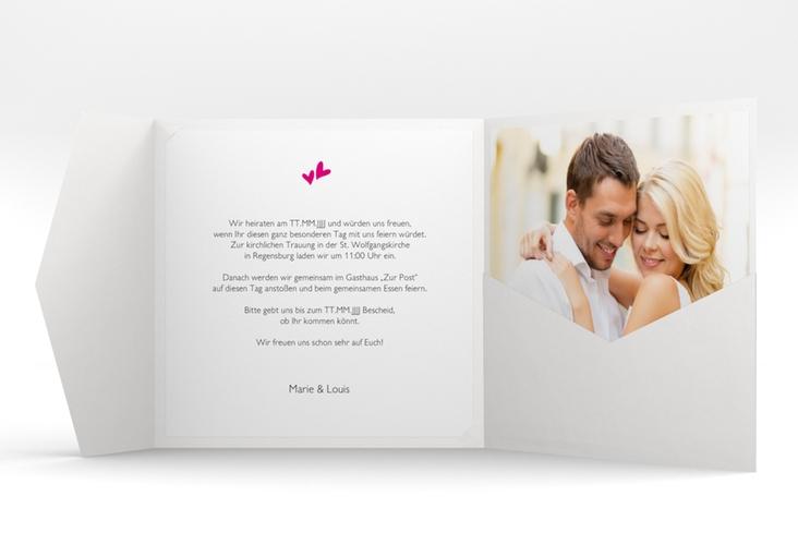 """Hochzeitseinladung """"Twohearts"""" Pocketfold pink"""