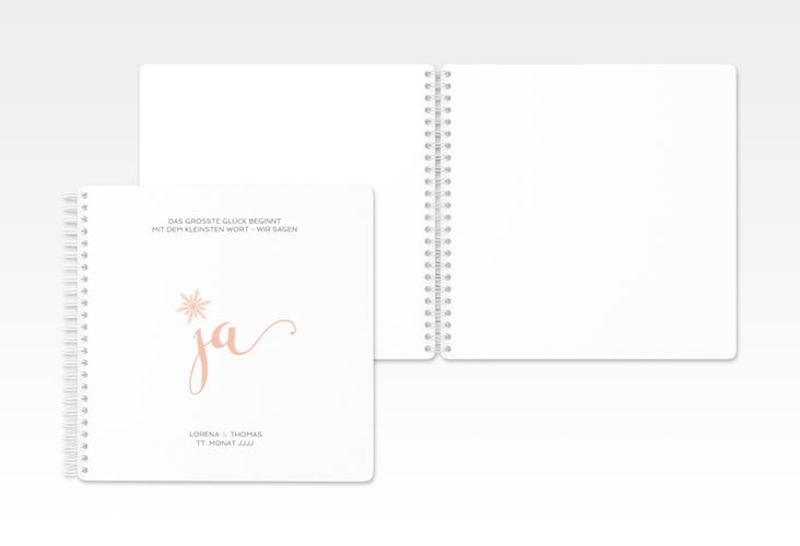 "Gästebuch Hochzeit ""Snowflake"" Ringbindung apricot"