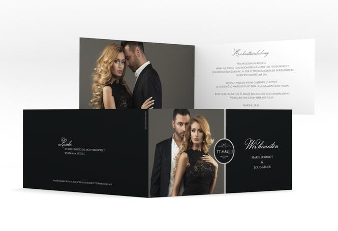 "Hochzeitseinladung ""Elegancy"" DIN lang Klappkarte"