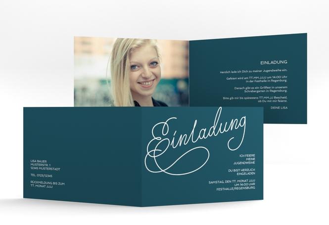 """Einladungskarte Jugendweihe """"Swinging"""" A6 Klappkarte Quer"""