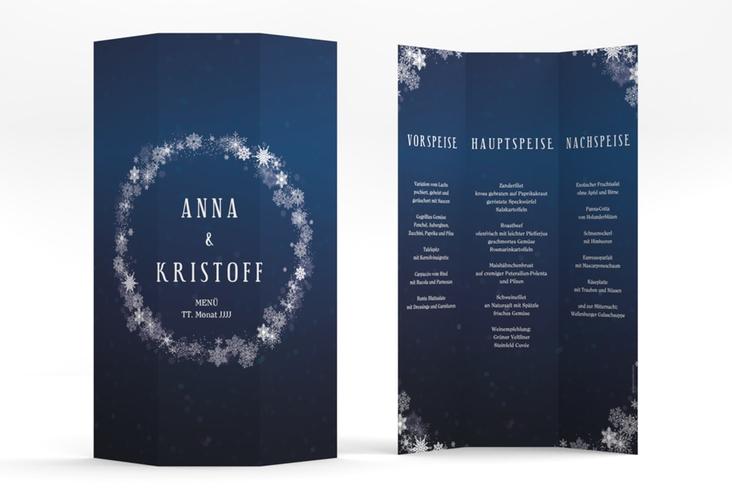 "Menükarte Hochzeit ""Winterdream"" DIN A4 Wickelfalz blau"