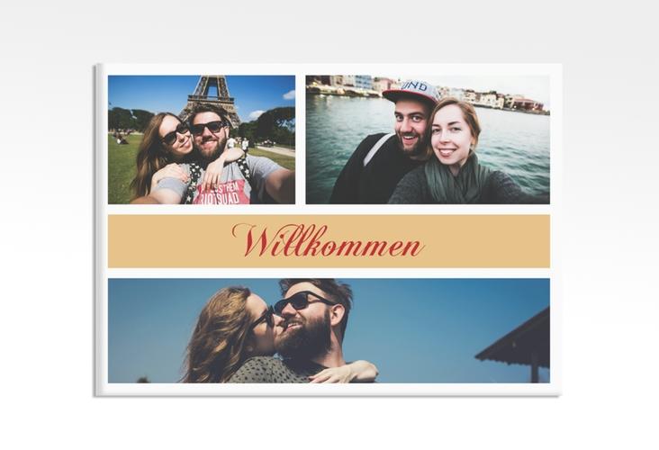 """Willkommensschild Hochzeit """"Collage"""" 70 x 50 cm Leinwand apricot"""