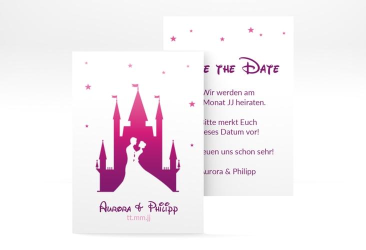 "Save the Date-Visitenkarte ""Castle"" Visitenkarte pink"