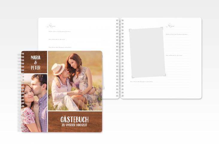 """Gästebuch Hochzeit """"Landliebe"""" Ringbindung braun"""
