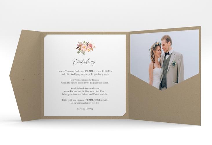 """Hochzeitseinladung """"Prachtvoll"""" Pocketfold weiss"""