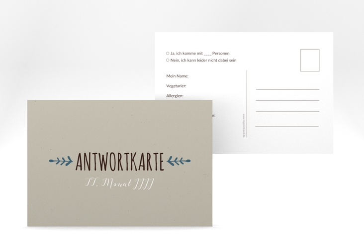 """Antwortkarte Hochzeit """"Eden"""" A6 Postkarte blau"""
