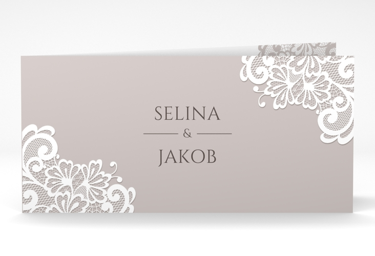 "Dankeskarte Hochzeit ""Vintage"" DIN lang Klappkarte grau"