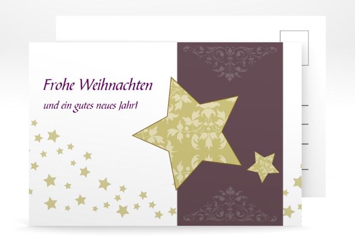 """Weihnachtskarte """"Christstern"""" A6 Postkarte lila"""