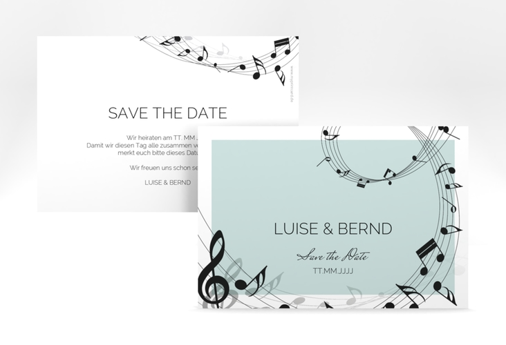 """Save the Date-Karte """"Melody"""" A6 quer tuerkis"""