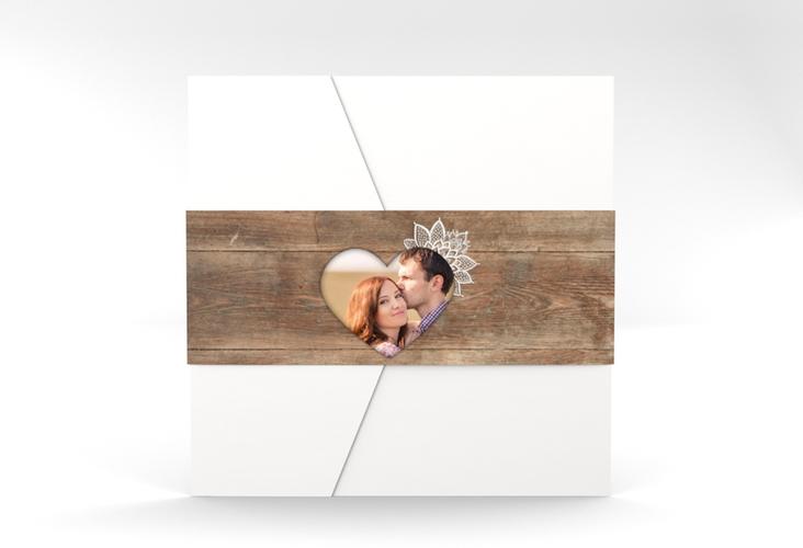 """Hochzeitseinladung """"Spitze"""" Pocketfold braun"""