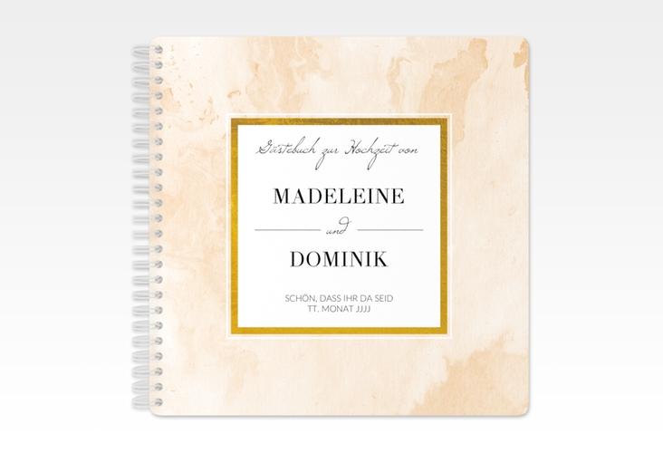 """Gästebuch Hochzeit """"Marble"""" Ringbindung beige"""