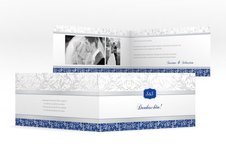"Dankeskarte Hochzeit ""Latina"" DIN lang Klappkarte blau"