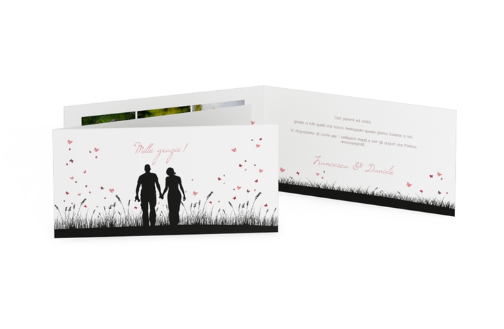 Ringraziamenti matrimonio collezione Rouen DIN lang Klappkarte schwarz