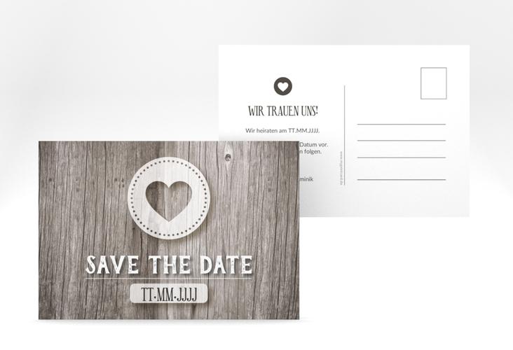 """Save the Date-Postkarte """"Flair"""" A6 Postkarte grau"""