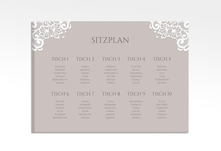 "Sitzplan Leinwand Hochzeit ""Vintage"" 70 x 50 cm Leinwand grau"