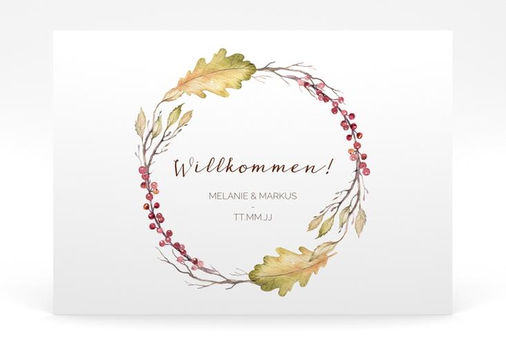 """Willkommensschild Poster """"Herbsthochzeit"""" 70 x 50 cm Poster weiss"""