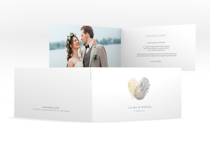 "Dankeskarte Hochzeit ""Fingerprint"" DIN lang Klappkarte beige"