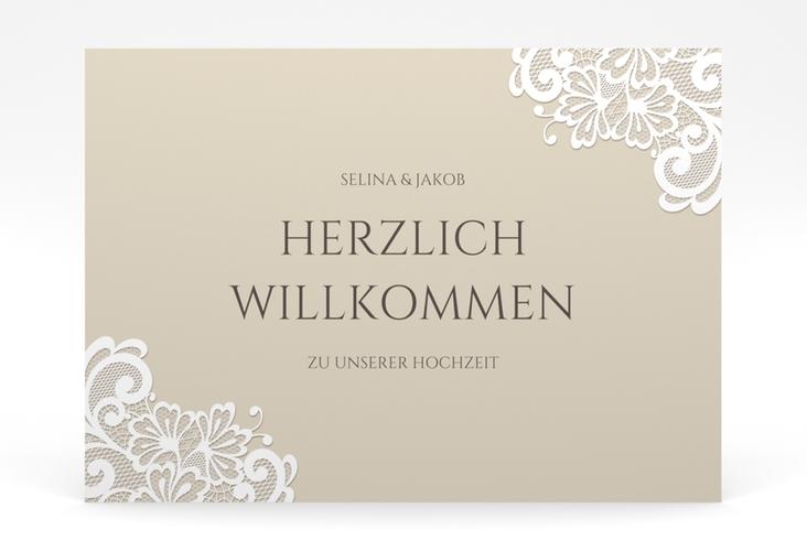 """Willkommensschild Poster """"Vintage"""" 70 x 50 cm Poster beige"""
