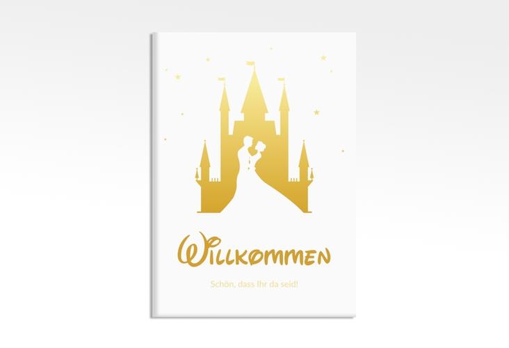 "Willkommensschild Leinwand ""Castle"" 50 x 70 cm Leinwand gold"