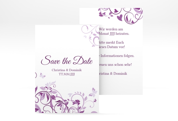 "Save the Date-Visitenkarte ""Lilly"" Visitenkarte lila"