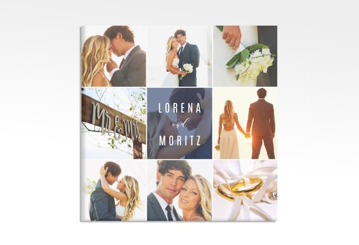 """Hochzeitscollage Leinwand """"Memory"""" 30 x 30 cm Leinwand blau"""