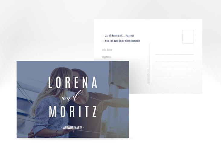 "Antwortkarte Hochzeit ""Memory"" A6 Postkarte blau"