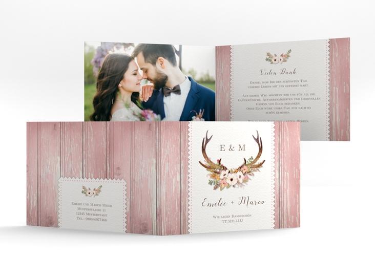 """Danksagungskarte Hochzeit """"Heimatjuwel"""" A6 Klappkarte Quer rosa"""