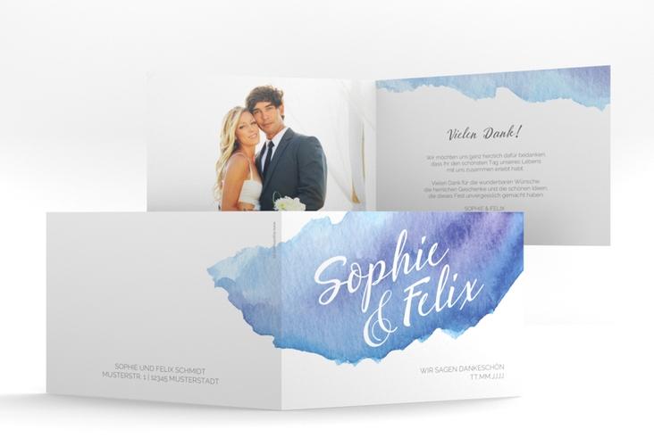 "Danksagungskarte Hochzeit ""Aquarella"" A6 Klappkarte Quer blau"