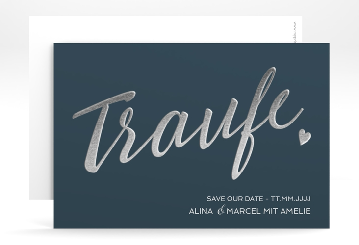 "Save the Date-Karte ""Traufe"" A6 quer blau"