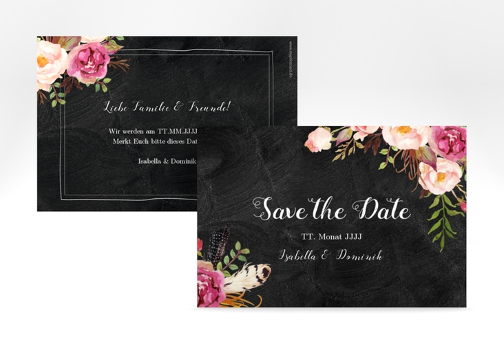 "Save the Date-Karte ""Flowers"" A6 quer schwarz"