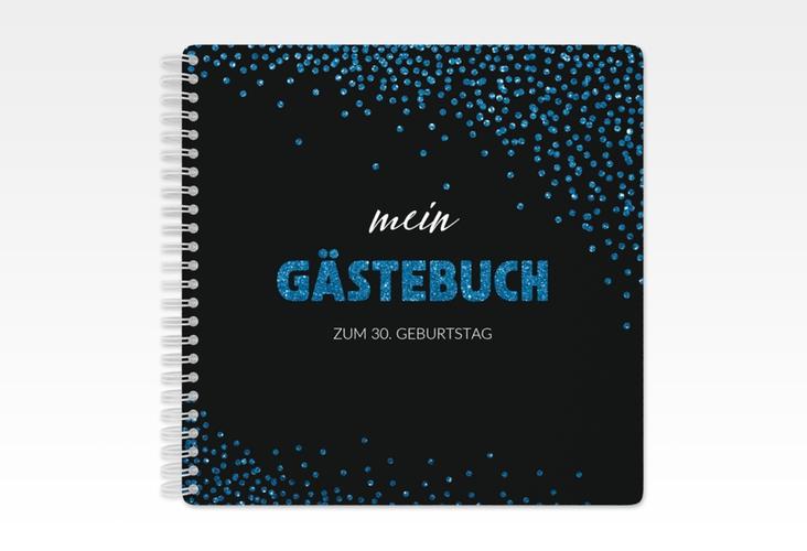 """Gästebuch Geburtstag """"Glitzer"""" Ringbindung blau"""