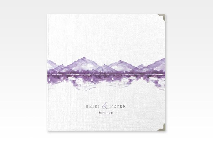 """Gästebuch Selection Hochzeit """"Bergliebe"""" Leinen-Hardcover lila"""
