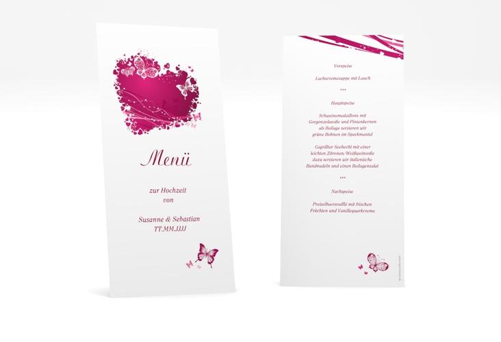 """Menükarte Hochzeit """"Mailand"""" DIN lang hoch pink"""