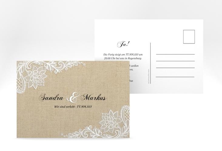 """Verlobungskarte """"Lace"""" A6 Postkarte beige"""