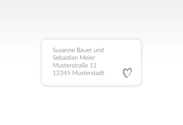 """Absenderetikett Hochzeit """"Liebe"""" 45,7 x 21,2 mm braun"""
