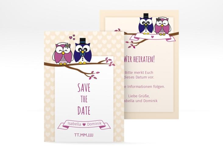 """Save the Date-Visitenkarte """"Eulenliebe"""" Visitenkarte"""