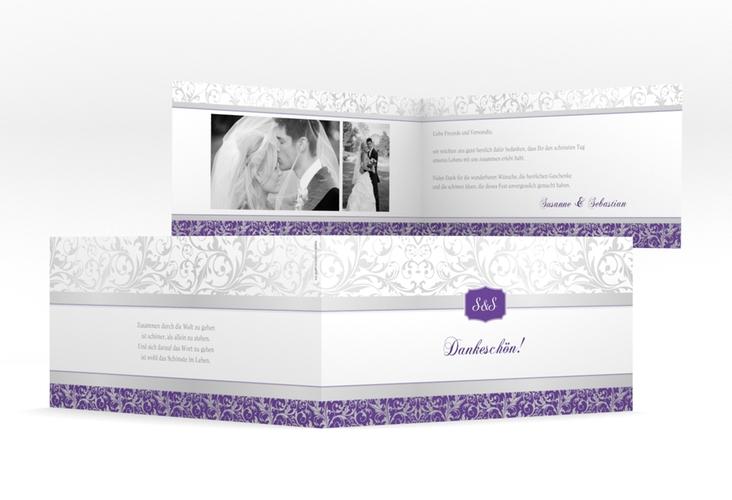 "Dankeskarte Hochzeit ""Latina"" DIN lang Klappkarte lila"