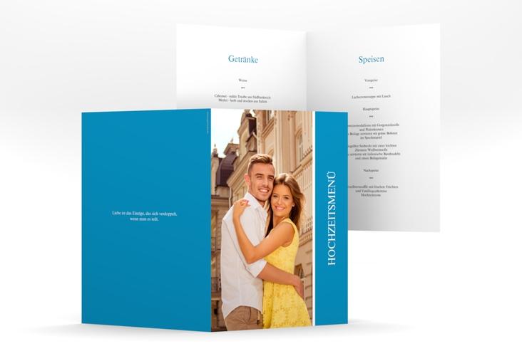 """Menükarte Hochzeit """"Classic"""" DIN A5 geklappt blau"""