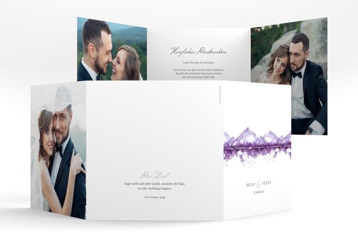 """Dankeskarte Hochzeit """"Bergliebe"""" Quadr. Karte doppelt lila"""