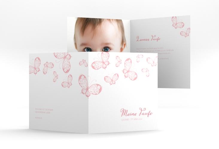"Einladung Taufe ""Protection"" Quadratische Klappkarte rosa"