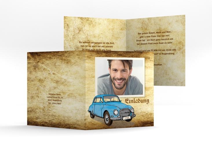"""Einladungskarte """"Friedrich"""" Quadratische Klappkarte"""