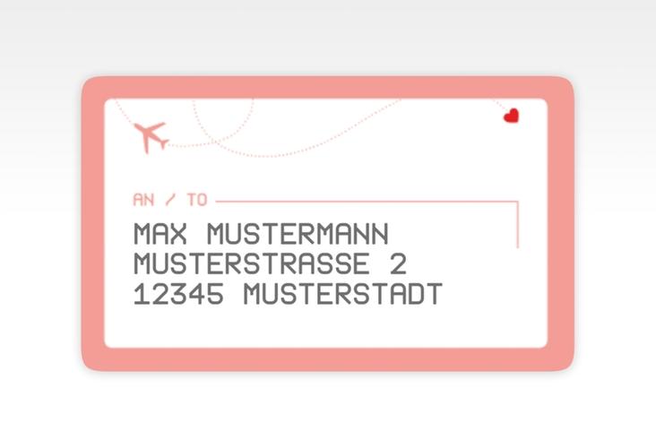"""Empfängeretikett Hochzeit """"Weddingpass"""" 63,5 x 38,1 mm rosa"""