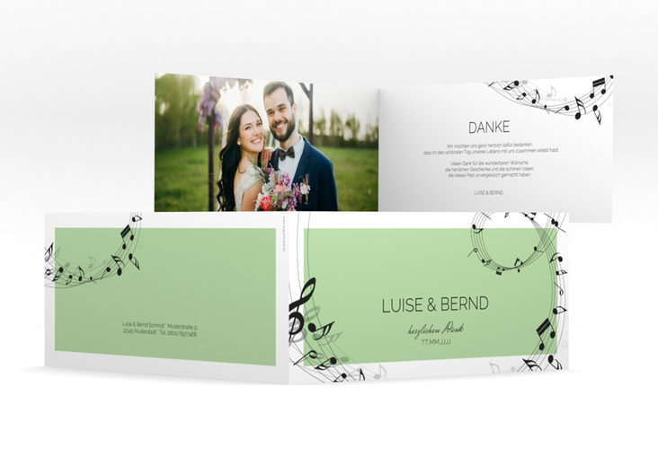 "Dankeskarte Hochzeit ""Melody"" DIN lang Klappkarte"